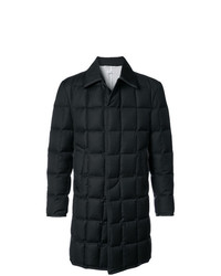 Thom Browne Downfilled Classic Bal Collar Overcoat With Tipping In Black Super 130s Wool Twill