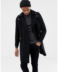 ASOS DESIGN Wool Mix Biker Overcoat In Black
