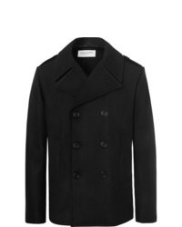 Saint Laurent Leather Trimmed Double Breasted Virgin Wool Peacoat