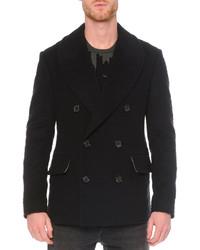 Alexander McQueen Leopard Jacquard Wool Peacoat Black