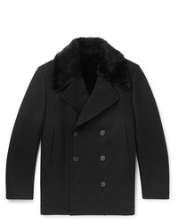 Dunhill Wool Blend And Shearling Coat