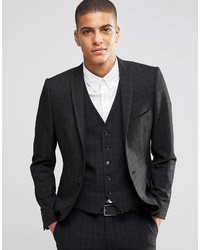 Homme suit jacket with mini plaid in skinny fit with stretch medium 618307
