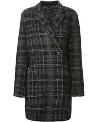 Diesel Double Breasted Plaid Coat