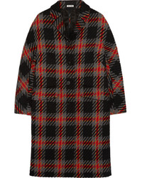 Miu Miu Oversized Checked Wool Tweed Coat