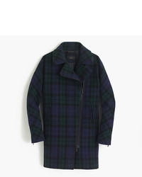 J.Crew Petite Zippered Coat In Black Watch Tartan