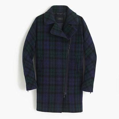 J.Crew Zippered Coat In Black Watch Tartan