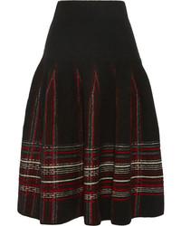Black Plaid Midi Skirt