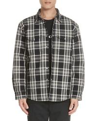 Black Plaid Wool Shirt Jacket