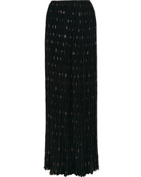 Lanvin Pleated Silk Blend Chiffon And Fil Coup Maxi Skirt Black
