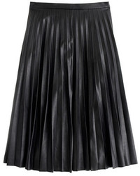 J.Crew Faux Leather Pleated Midi Skirt