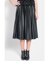 Lanvin Pleated Faux Leather Midi Skirt