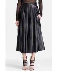 BLK DNM Pleated Leather Midi Skirt Black Medium