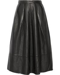 Tibi Pleated Leather Midi Skirt