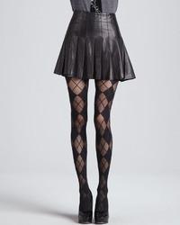 Box pleat leather skirt medium 13942