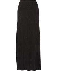 Missoni Pleated Metallic Crochet Knit Maxi Skirt Black