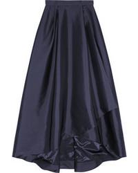 Alberta Ferretti Pleated Wrap Effect Taffeta Maxi Skirt