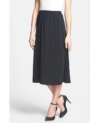 Leith Side Slit Woven Midi Skirt Black Small