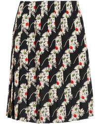 Prada Floral Print Pleated Cady Skirt Black