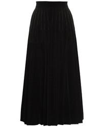 Saint Laurent Pleated Velvet Midi Skirt
