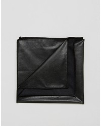 Asos Faux Leather Pocket Square In Black