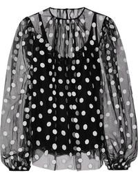 Black Polka Dot Chiffon Long Sleeve Blouse