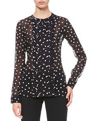 RED Valentino Dotted Pleat Front Blouse