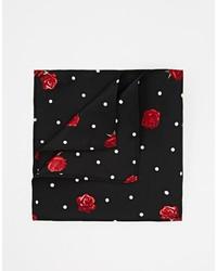 Asos Brand Pocket Square With Polka Dot Floral