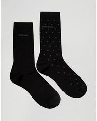 Hugo Boss Boss By Mercerized Cotton Polka Dot Socks In 2 Pack