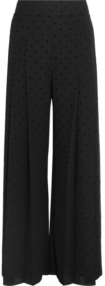dcb15561 £417, See by Chloe See By Chlo Pleated Polka Dot Crepe Wide Leg Pants Black