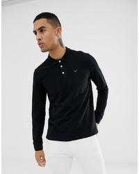 Emporio Armani Long Sleeve Logo Polo In Black