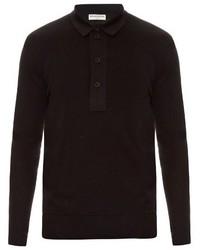 Balenciaga Layered Cotton Knit Polo Shirt