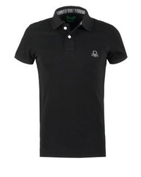 Benetton Muscle Fit Polo Shirt Black
