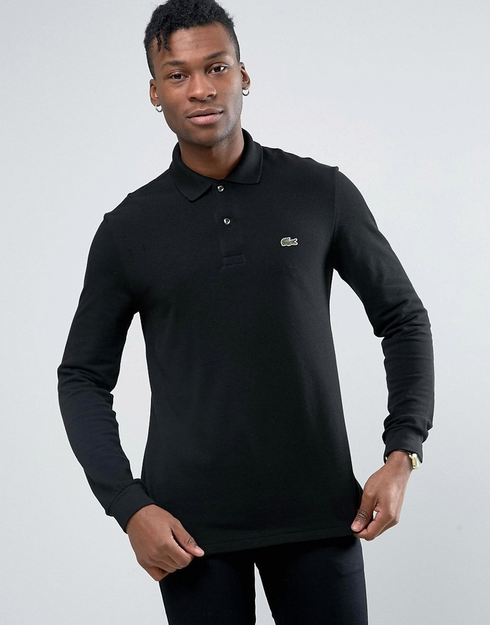 42e1669285 £105, Lacoste Polo Shirt In Long Sleeve Black Regular Fit