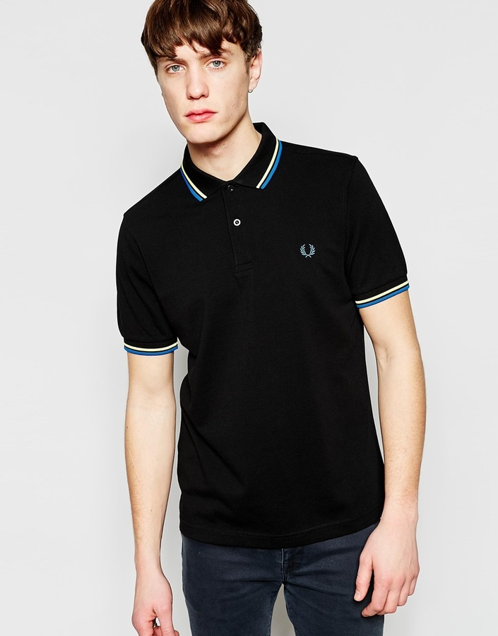 ... Fred Perry Polo Shirt With Twin Tip Slim Fit ...