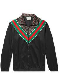 Gucci Webbing Trimmed Logo Print Tech Jersey Track Jacket
