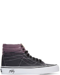Black Print Canvas High Top Sneakers