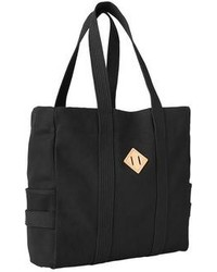 Black Print Canvas Tote Bag
