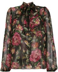 Dolce & Gabbana Chiffon Floral Print Blouse