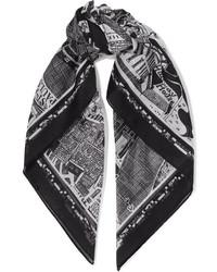 Printed cotton voile scarf black medium 964638