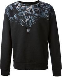 Black Print Crew-neck Sweater