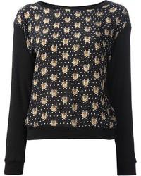 Black Print Crew-neck Sweater