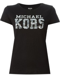 MICHAEL Michael Kors Michl Michl Kors Logo Print And Sequins Embroidered T Shirt