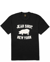 Jean Shop Printed Slub Cotton Jersey T Shirt