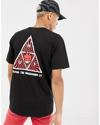 HUF X Spitfire T Shirt With Triple Triangle Back Print In Black