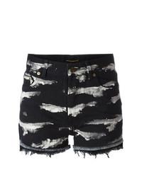 Saint Laurent Tiger Stripe Bleach Denim Shorts