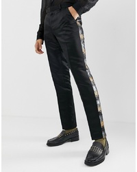 ASOS Edition Skinny Suit Trousers In Grey And Gold Sequins