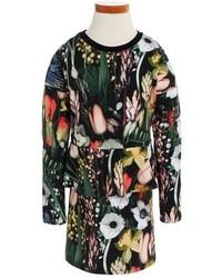 Molo Toddler Girls Corliss Flower Print Knit Peplum Dress
