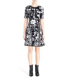 Kenzo Tanami Flower Intarsia Knit Fit Flare Dress