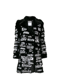 Moschino Safety Pin Slogan Patched Faux Fur Coat