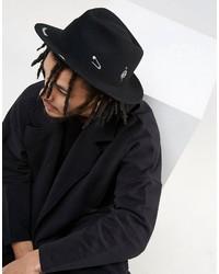 Asos Narrow Brim Fedora Hat With Print